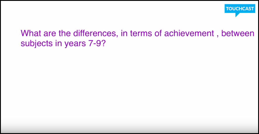4 What is the differences in achievement between subjects in years 7-9