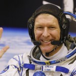 British astronaut Tim Peake, member of the main crew of the expedition to the International Space Station (ISS), gestures prior the launch of Soyuz TMA-19M space ship at the Russian leased Baikonur cosmodrome, Kazakhstan, Tuesday, Dec. 15, 2015. Peake, the first Briton to represent the European Space Agency aboard the International Space Station, will be away from the planet for six months but looks forward to Earthly pleasures like seeing the new Star Wars movie and having a Christmas pudding. (AP Photo/Dmitry Lovetsky)