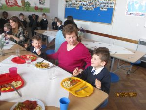 Thank you for coming to share lunch with us today. The children really enjoyed having you here with them. Thank you to the lunchtime staff for providing a lovely meal and serving our meals.