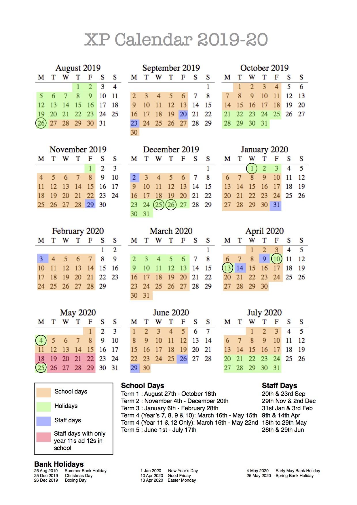 Christmas Holidays 2019 Calendar.New Calendar 2019 20 Xp East
