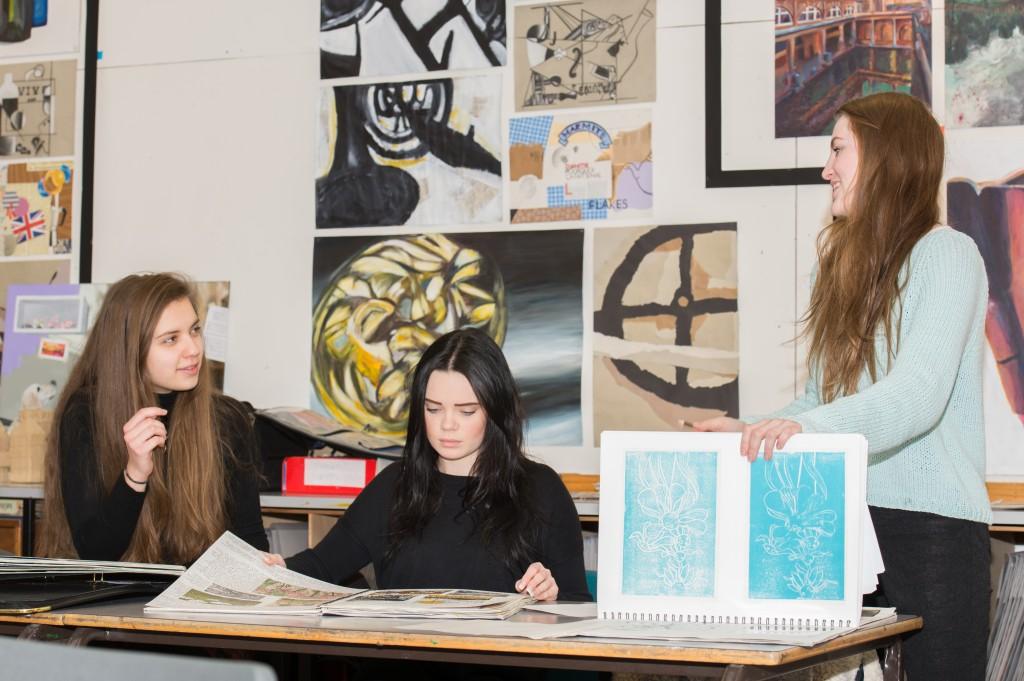 3 Yr 13 girls in art