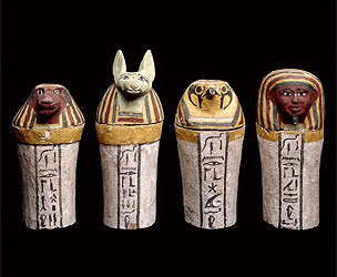 ART painted-wooden-canopic-jars