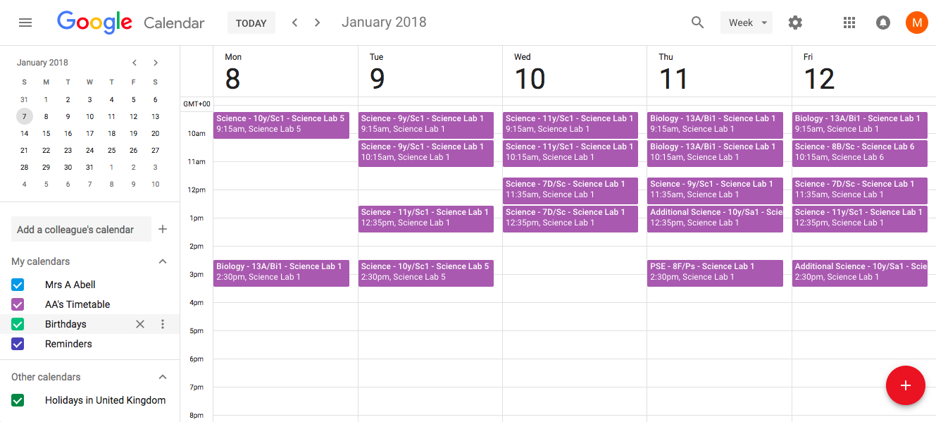Timetables imported into Gcal