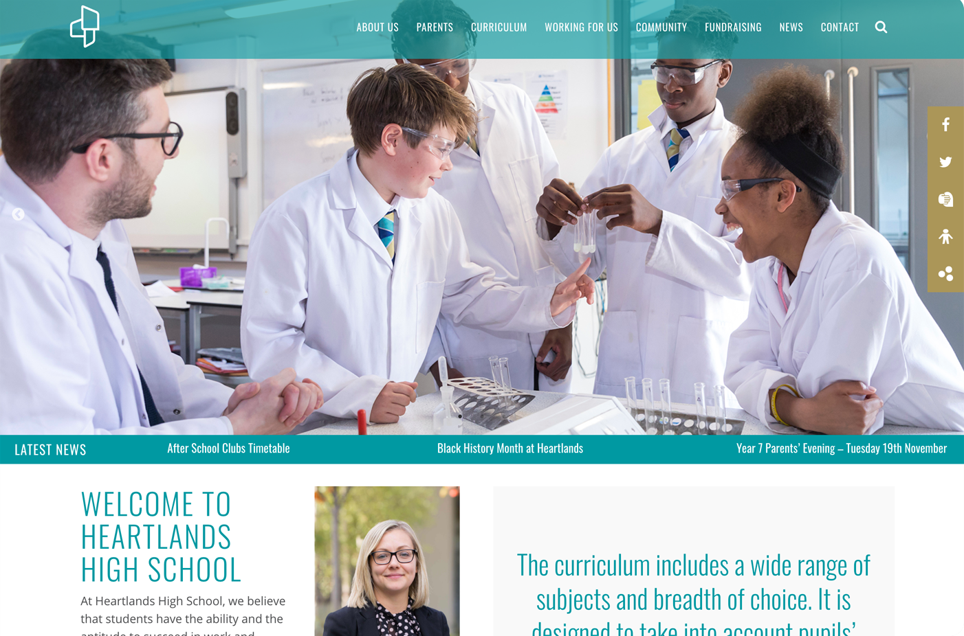 A screenshot of one of our clients websites, heartlands high