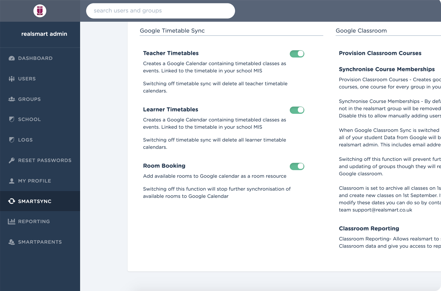 Screenshot of smart homework admin screen