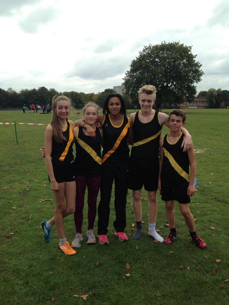 Year 10/11 runners at the West Midlands Cross-country who have qualified to represent the county. From left to right: Lucy Evans (8th), Zoe Brickley (13th), Amelia Samuels (3rd), Matt Hogg (1st), Harry Dyall (5th).
